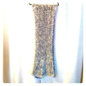 Knitted hand made Silver Fuzzy Oversized Scarf